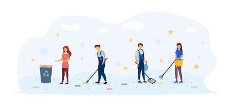 Volunteers cleaning the street Ilustrace
