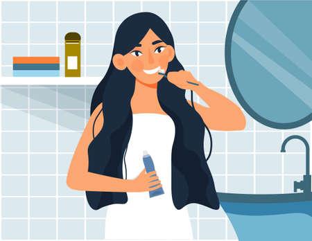 Woman brushing teeth 向量圖像