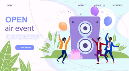 Open air music festival concept. Ilustrace
