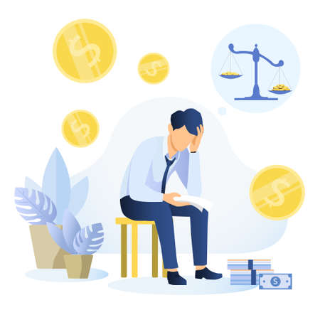 Financial problems and bankruptcy concept