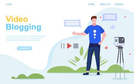 Vlogging or Video Blogging concept