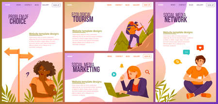 Set of four different website template designs