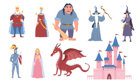 Set of eight characters for fairy tales Ilustrace