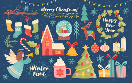 Large collection of Christmas design elements Vettoriali