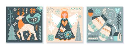 Set of Scandinavian Christmas or winter scenes