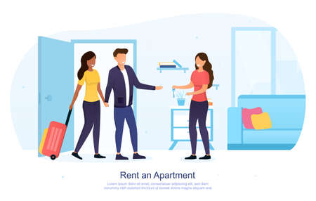Tourists renting an apartment concept Ilustrace