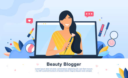 Beauty Blogger with cosmetics icons and laptop