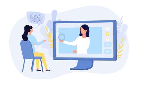 Online medical or psychological counselling Ilustrace