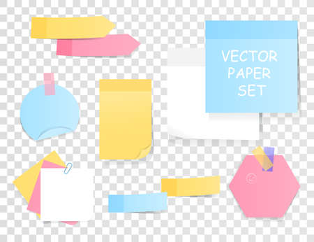 Set of blank sticky notes and memos