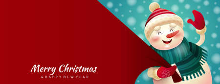 Colorful red Merry Christmas banner Ilustrace