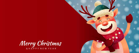 Panorama Christmas card with smiling reindeer Ilustrace