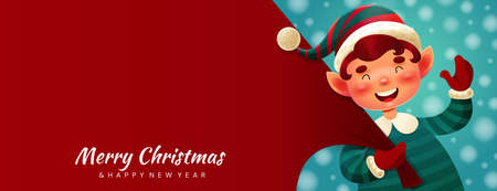 Colorful red Merry Christmas banner Ilustracja