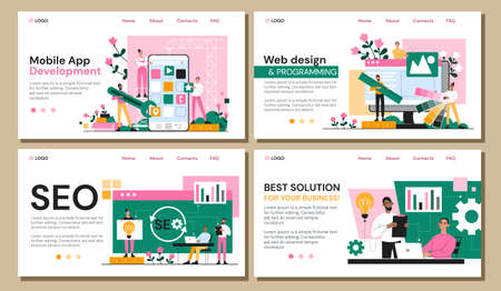 Set of four web page templates for business