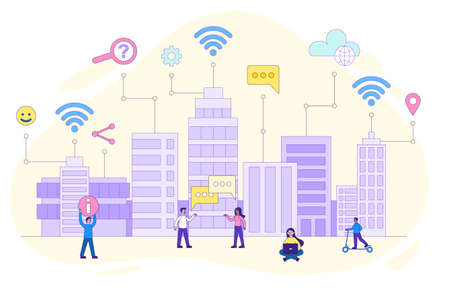 Smart city with wireless and internet icons Ilustrace