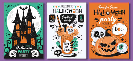 Triplet of scary Halloween poster designs