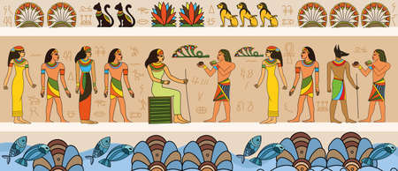 Ancient Egyptian scene with queen and servants