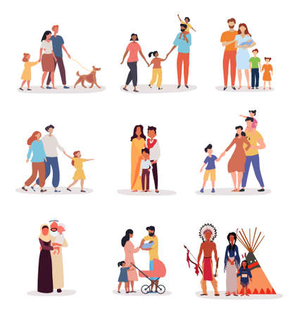 Heterosexual families of different ethnicity Illustration