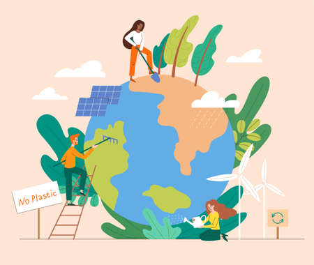 Saving the Planet concept with group of people