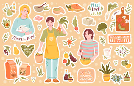 Collection of icons for healthy vegan products 向量圖像