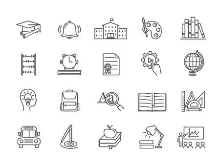 Large collection of line drawn education icons