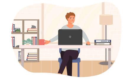Vector illustration of freelance work at home Illustration