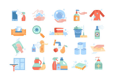 Large set of disinfection or sanitising icons