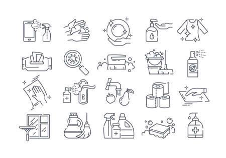 Large set of black and white sanitising icons