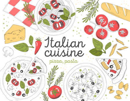 Italian Cuisine concept with pasta and pizza