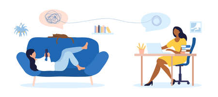Online psychological counselling concept with woman Ilustracje wektorowe