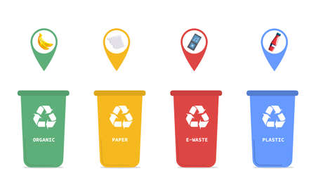 Four coded recycling bins for household waste
