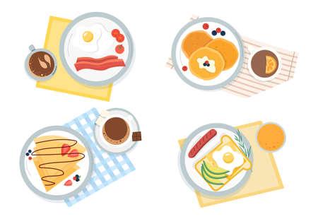 Four assorted servings of breakfast Vecteurs