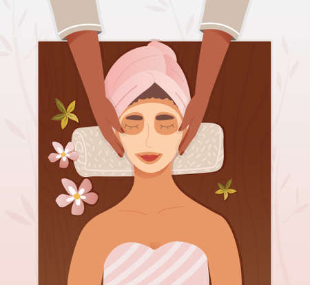 Beautician applying a face mask to a woman Vector Illustration