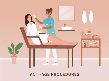 Woman in a salon having anti ageing procedures