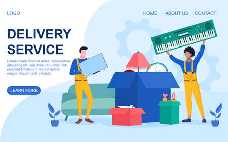Delivery Service concept with workmen and cartons