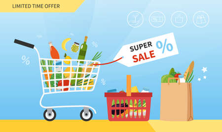 Grocery Sale concept with trolley full of food