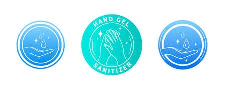 Set of three hand sanitizer labels