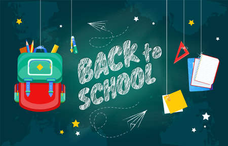 Back To School concept with text on chalkboard