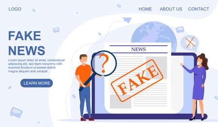 Fake news and fake media concept Çizim