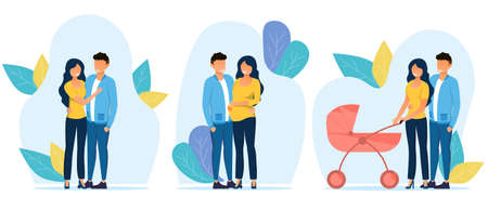 3 illustrations showing scenes from the couple s life Vektorgrafik