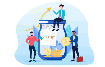 Savings concept with people sitting