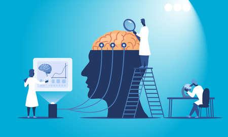 Scientists researching human brain Vektoros illusztráció