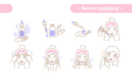 Beauty concept applying hydrating serum Çizim