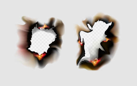 Burnt scorched paper edges with flames