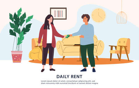 Daily rent payment concept in cash