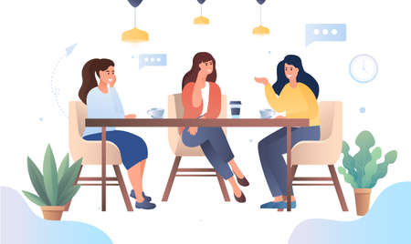 Girls enjoying a relaxing chat at a cafeteria