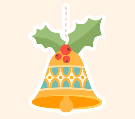 Decorative Christmas bell ornament with holly