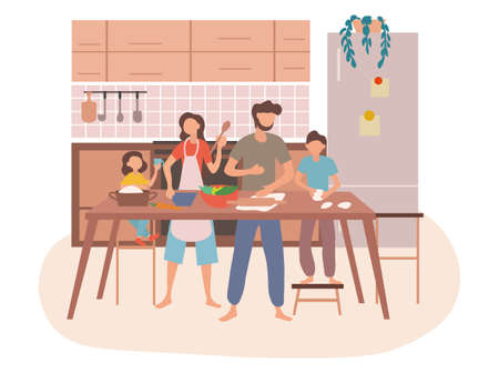 Young family preparing food together in a kitchen
