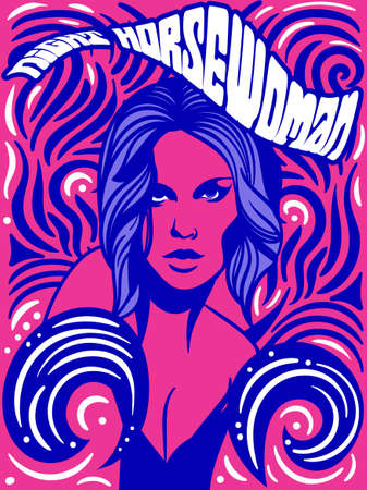 The Horsewoman psychedelic vintage poster design Stock Illustratie