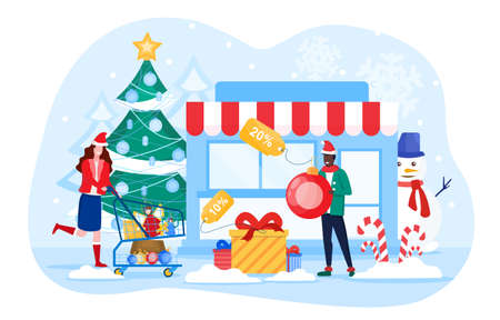 Winter and Christmas Sale concept with woman rushing to store