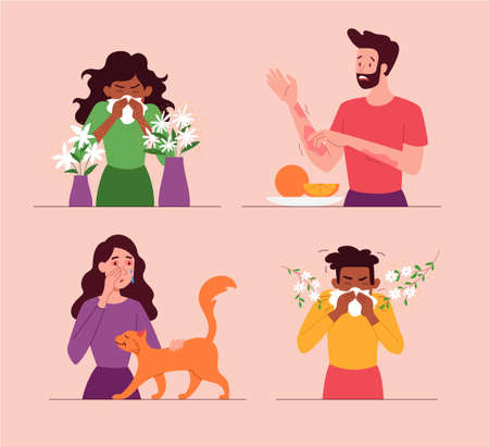 Set of allergy concepts to pollen, food and cats Vector Illustration